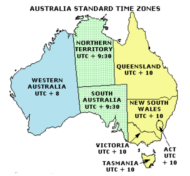 Mathspace Times In Australia And Its Neighbours - Us time zone map with times