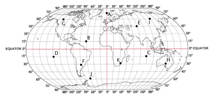 Latitude and longitude questions mathspace several locations are marked on the map below gumiabroncs Choice Image